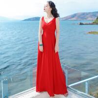 夏季新品女装裙子红色无袖雪纺连衣裙波西米亚长裙海边度假沙滩裙 红色 XZA2
