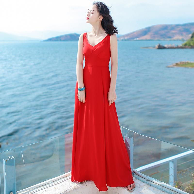 夏季新品女装裙子红色无袖雪纺连衣裙波西米亚长裙海边度假沙滩裙 红色 XZA2 发货周期:一般在付款后2-90天左右发货,具体发货时间请以与客服协商的时间为准