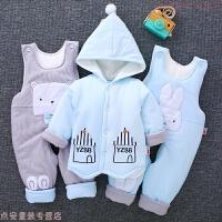 新生儿冬季衣服加厚0-3个月婴儿棉衣棉袄套装初生宝宝秋冬装0-1岁