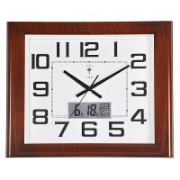 静音挂钟客厅万年历电子钟简约现代大时钟方形日历石英钟表 20英寸(直径50.5厘米)