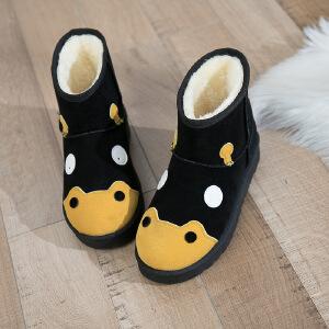 雪地靴女短靴女2018冬季新款韩版雪地靴女短筒卡通短靴平底学生加厚加绒保暖靴子2344DTH