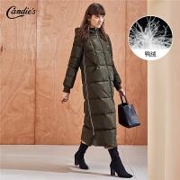 中长款羽绒服女拉夏贝尔冬季新款韩版修身灰鸭绒拉链连帽外套