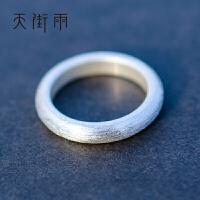 银手工拉丝 简约男女对戒情侣戒指素圈 手工素绘 8号(单只价)