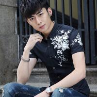 衬衫男短袖修身韩版潮流帅气个性潮男青少年学生夏季薄款衬衣 XX