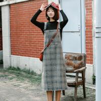 秋季新款韩版宽松毛呢格子背带裙女中长款学生过膝连衣裙吊带裙子