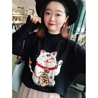 200斤胖mm大码女装2018冬装新款毛衣日系卡通可爱上衣减龄针织衫 大码均码