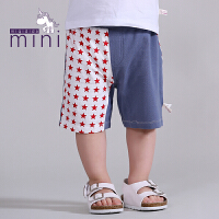 米奇丁当迷你男幼童夏季新款星星拼撞短裤时尚宝宝裤子