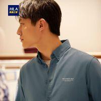 HLA/海澜之家舒适水洗长袖衬衫2019秋季新品休闲制扣领长衬男