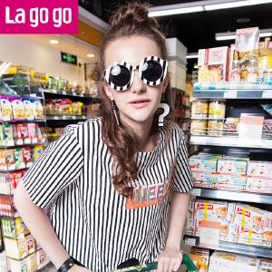 Lagogo夏季新款圆领条纹潮款字母纯棉上衣宽松短款短袖t恤女夏