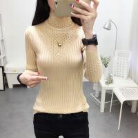 女士秋冬新款韩版短款毛衣套头修身百搭长袖花边半高领针织打底衫 均码