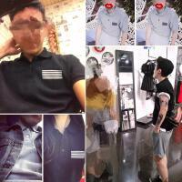 夏装新款日韩版演唱会五道杠街舞短袖polo衫男女生翻领半袖