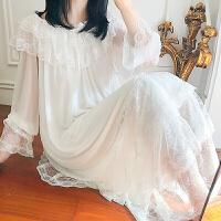 宫廷睡裙女秋长款复古蕾丝网纱长袖莫代尔可外穿公主风睡衣仙