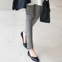 格子打底裤女外穿长裤棉2019春季新款修身弹力铅笔裤高腰小脚裤子 白色 黑白格子