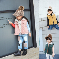 女童马甲冬季新款灯芯绒加厚纯棉纯色休闲大码潮儿童背心外套