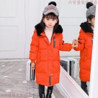 新款儿童羽绒服加厚中长款中大童毛领棉袄男童女童冬装保暖外套