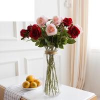 花干花花束绢花摆件摆设花艺单支仿真玫瑰花假花套装客厅餐桌装饰