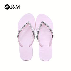 jm快乐玛丽2018新品时尚素色夹趾人字拖平底沙滩女凉拖鞋子T1036W