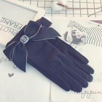 手套女冬加绒加厚保暖甜美韩版学生可爱薄款骑开车防寒触屏手套女
