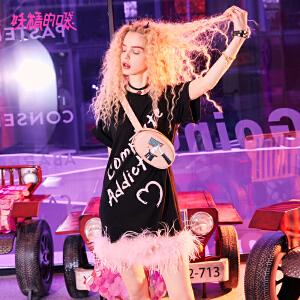 【低至1折起】妖精的口袋新款超仙短袖冷淡风连衣裙气质少女原宿裙子