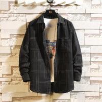 新款韩版格子长袖衬衫格子潮流帅气青少年学生休闲衬衣男寸衣