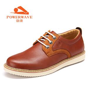 劲浪 新款青年男士休闲鞋皮鞋英伦真皮板鞋反绒拼接男鞋子