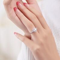 1克拉钻戒女情侣对戒镀铂金钻石戒指饰品指环个性 一克拉太阳花
