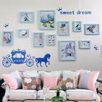 雕花 照片墙 欧式实木相片墙 相框 创意组合 11框公主梦