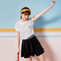 韩版T恤7m2018夏季新款条纹卡通印花探险狗百搭宽松显瘦短袖内搭70010835