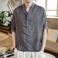中国风男装 夏季棉麻短袖T恤男薄大码宽松休闲体恤民族服装汉服