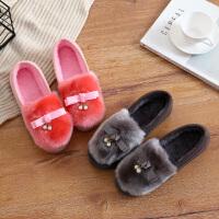 泰蜜熊冬季豆豆鞋女士棉拖鞋包跟居家底室内外防滑保暖家居棉鞋