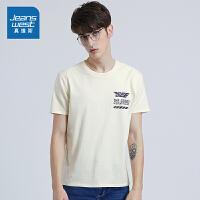[到手价:26.9元]真维斯男装 夏装 修身纹布圆领印花短袖T恤