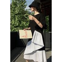 2018夏季新款下摆不规则拼接开叉宽松连衣裙女夏季中长款显瘦短袖T恤裙子 黑白连衣裙