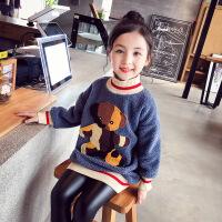 女童卫衣中长款 秋冬装2018新款韩版套头洋气儿童加厚上衣中大童