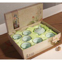 【包邮】德化青瓷 茶具套装 浮雕彩鲤鱼杯功夫茶杯