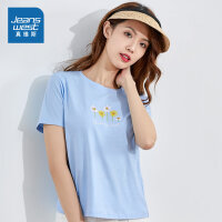 [3折到手价:47.6元,秒杀狂欢再续仅限4.6-4.10]真维斯女装 2020春季新品 圆领绣花合身型短袖T恤