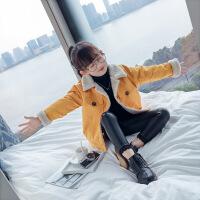 女童秋冬外套2018新款韩版儿童冬装加厚加绒羊羔绒女孩洋气上衣潮 黄色