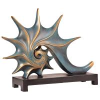 欧式海螺摆件家居饰品客厅书房电视柜装饰工艺品摆件 仿青铜海螺工艺品