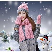 生日圣诞礼物韩版加绒加厚帽子围巾手套冬季女士毛线帽套装三件套