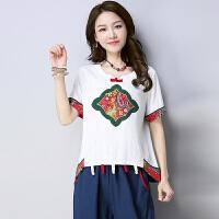 年新款民族风夏装女上衣大码女装文艺复古贴布绣花T恤短袖