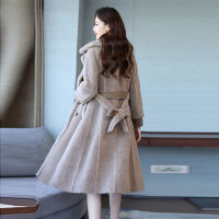 加厚羊羔毛呢大衣女2018冬装鹿皮绒拼接毛呢外套中长款呢大衣