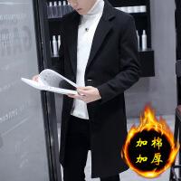 男士风衣2018新款韩版潮流加绒呢子大衣休闲春秋季中长款毛呢外套 -加棉款