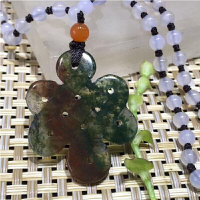 天然宝石挂件多彩水草玉髄中国结坠子配项链一套【TQYS-8(A840)】