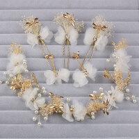 韩式森女新娘头饰饰品发箍满天星干花蜻蜓花环婚纱配饰结婚发饰仙