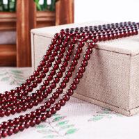 天然酒红色石榴石手链项链女多圈收藏饰品DIY配件半成品7A散珠