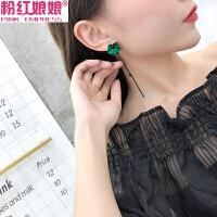 925银耳针韩国耳环绿花朵气质流苏耳钉女耳饰品时尚百搭耳坠长款