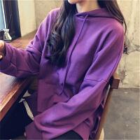 秋冬韩版卫衣女学院风加绒套头连帽宽松bf原宿百搭色下摆开叉潮 紫色 加绒
