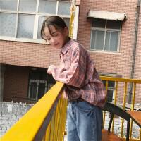 韩系女装新款原宿风bf秋季女装百搭红蓝格子口袋宽松长袖衬衫上衣