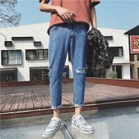 港风夏季新款膝盖破洞小脚牛仔裤男士韩版学生宽松哈伦九分裤子潮