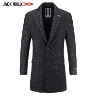 拉夏贝尔男装Jackwalk羊毛大衣冬季新品花纱中长款毛呢外套男