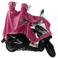 电动车摩托车双人母子情侣雨披透明面罩雨披雨衣